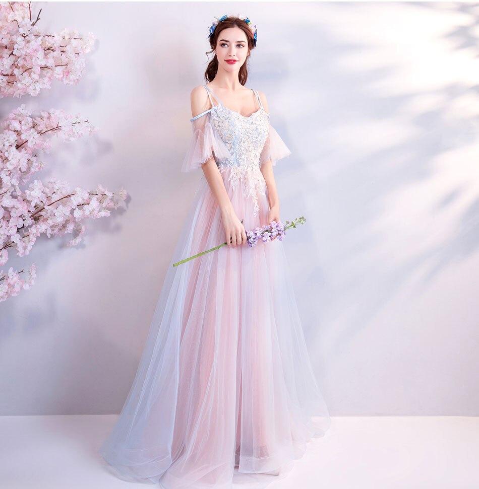 Elegant Off The Shoulder Tulle Long Bridesmaid Dress 12