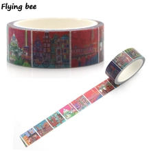 Flyingbee 15mmX5m Paper Washi Tape Travel Eiffel Tower Adhesive DIY Scrapbooking building Sticker Label Masking X0327