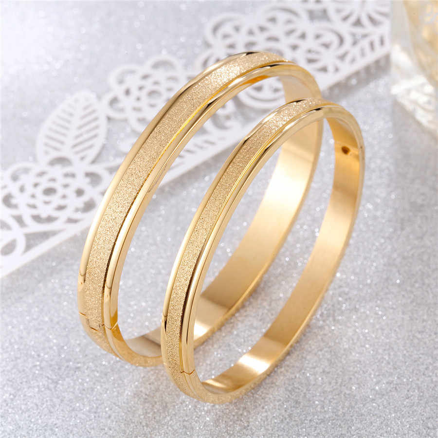 New Gold Stainless Steel Bracelets Bangles Women Men Couple Matte Surface Yellow Rose Gold Silver Girl Jewelry Gifts Wholesales