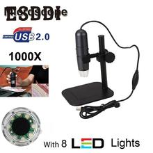 Cheap price Esddi New 8LED 50X-1000X USB Digital Microscope Endoscope Magnifier Video Camera w/ Stand Snake Inspection Tube Pipe Mini Cam