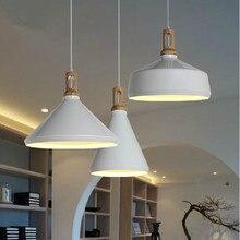 Современный подвесной светильник дерево и алюминиевый лампы черный / белый ресторан бар столовая из светодиодов висячие светильники