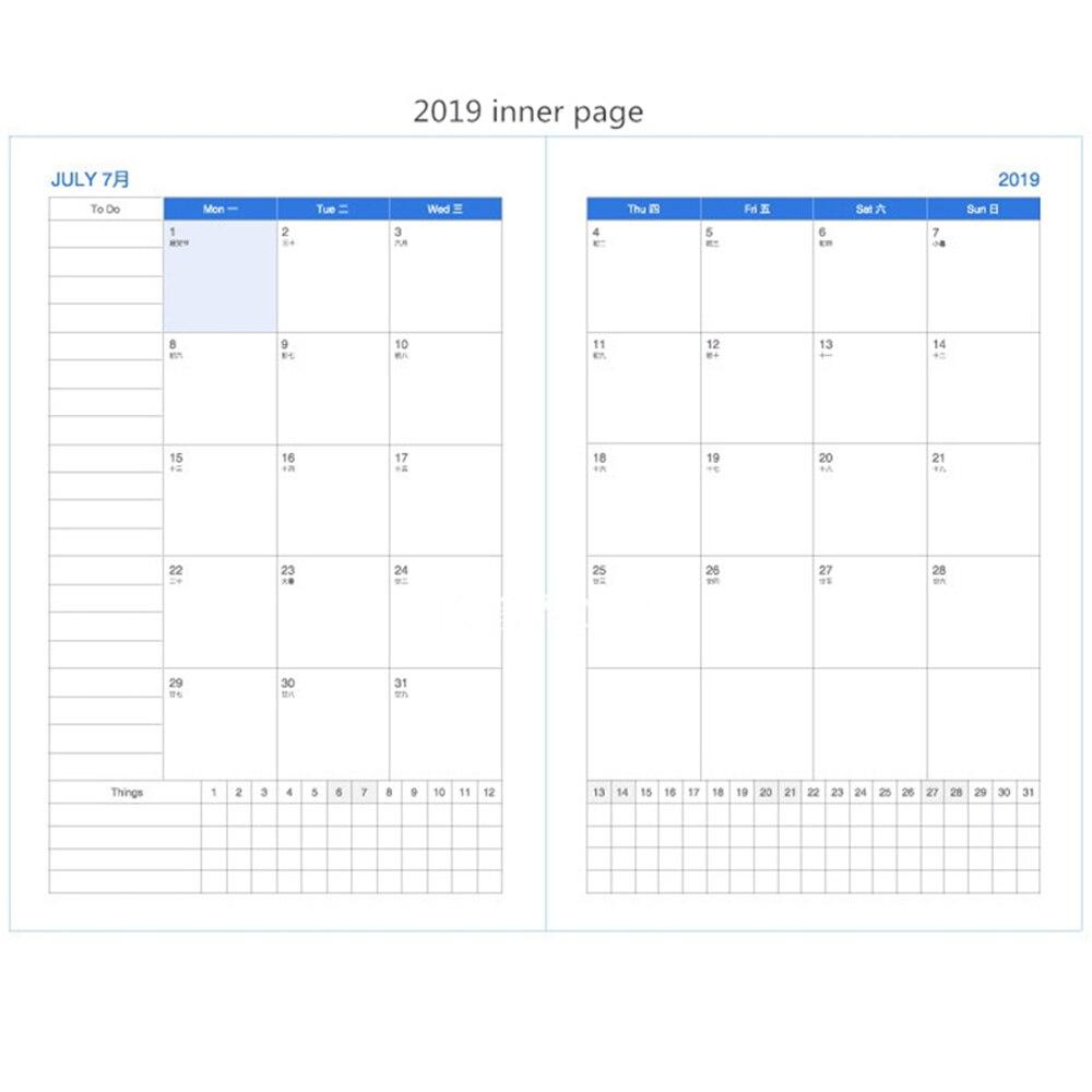 Calendario Semanal.2019 A4 Cuaderno Kawaii 365 Diario Semanal Mensual Anual Calendario Planificador Programa Calendario Organizador Diario Libros De La Escuela De La