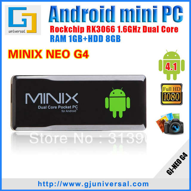 100% Original MINIX NEO G4 android mini pc with Remote Control RK3066 smart tv box Dual Core Cortex A9 1G/8G