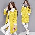 OLGITUM Moda algodão-acolchoado quente Grosso Magro das mulheres no longa seção de algodão-acolchoado jacket Tops LJ768