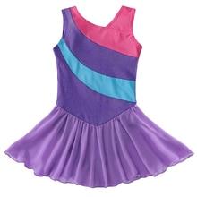드레스 발레 여자 체조 레오타드 댄스 착용 민소매 보라색 스트라이프 튜울 치마 키즈 발레 의상 투투 전문 드레스