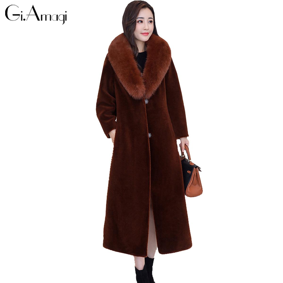 Fur Coat Wool Long Section Fox Fur Coat Unloaded Fur Collar 2017 Winter Women New Sheep Cut Cashmere Coat Faux Fur Jacket