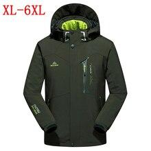 Осень зима новый куртка мужская водонепроницаемый ветрозащитный теплая куртка пальто мужская повседневная мягкая оболочка утолщение куртка размер XL-4XL5XL6XL