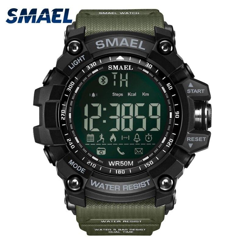 50 mètres De Bain Robe montres de Sport Smael Marque vert armée Style Bluetooth Lien montres intelligentes Hommes Numérique Sport Homme Horloge 1617B