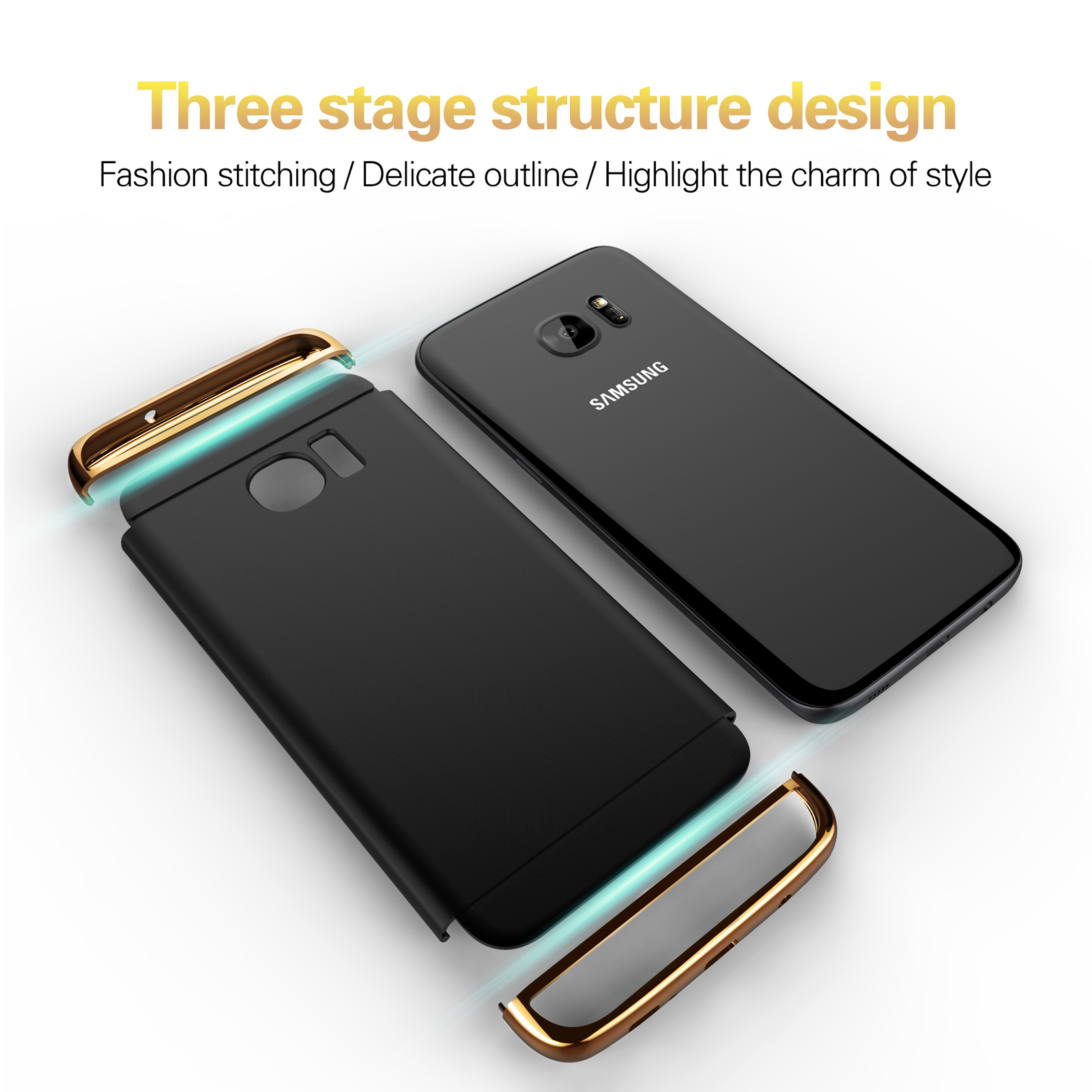S7 Edge Case Luxury Hard PC 3 in 1 Hybrid Case For Samsung Galaxy S7 Edge Slim Matte Bling Arc Armor Full Back Plastic Cover in Fitted Cases from