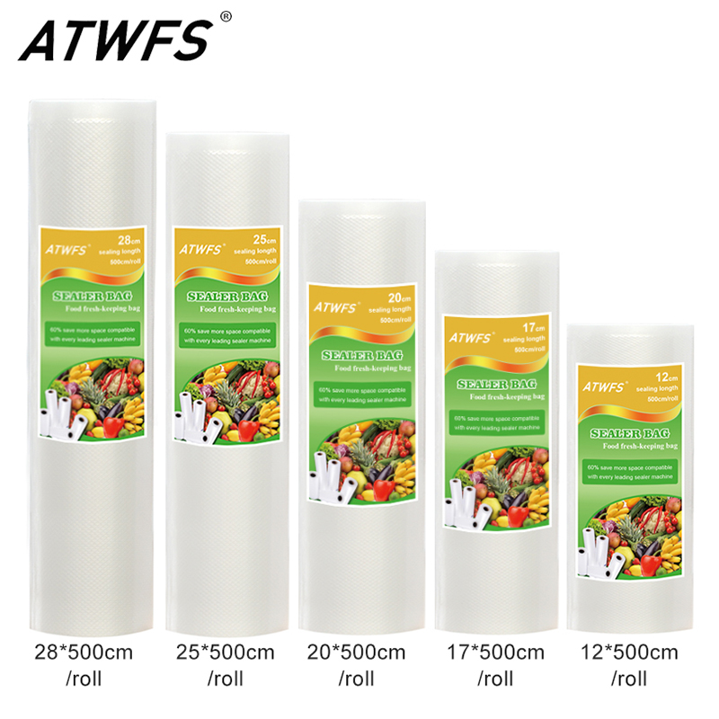 ATWFS Vacuum Packaging Rolls Vacuum Plastic Bag Storage Bags Home Vacuum Sealer Food Saver 12+17+20+25+28cm*500cm 5 Rolls/Lot(China)