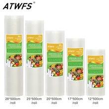ATWFS Vacuum Packaging Rolls Vacuum Plastic Bag Storage Bags home Vacuum Sealer Food Saver 12+17+20+25+28cm*500cm 5 Rolls/Lot