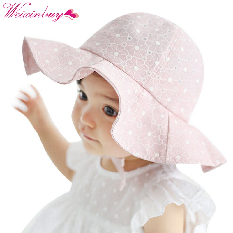 2019 Fashion Solid Color Lace Hollow Baby Girl With Bow Toddler Kids Beach Bucket Hats Cap Summer Cute Princess Baby Hat Fit For 3-18 Months Comfortable Feel Boys' Baby Clothing