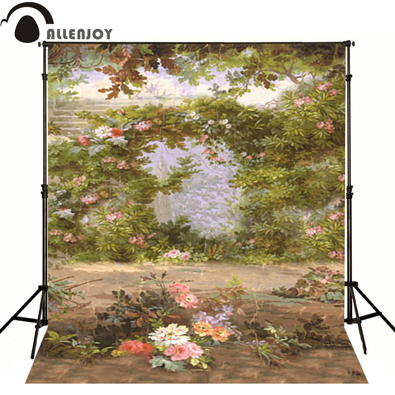 Allenjoy vinyl backdrops for photography Spring trees flower painting photo background baby kid photocall cute 10x10