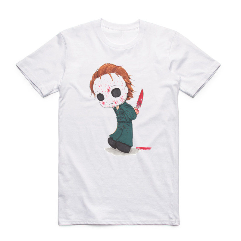 Asian Size Printing Jacted Up Michael Myers T-shirt Summer Casual O-Neck Short Sleeve Halloween Movie T-shirt HCP4347 ...