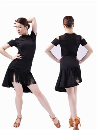 3efe065fd8df1 New Latin Dance Suit Adult Female Irregular Fringe Skirt Tango/cha Cha/ballroom  Dance Competition Dresses Sexy Tops Skirts Sets-in Latin from Novelty ...