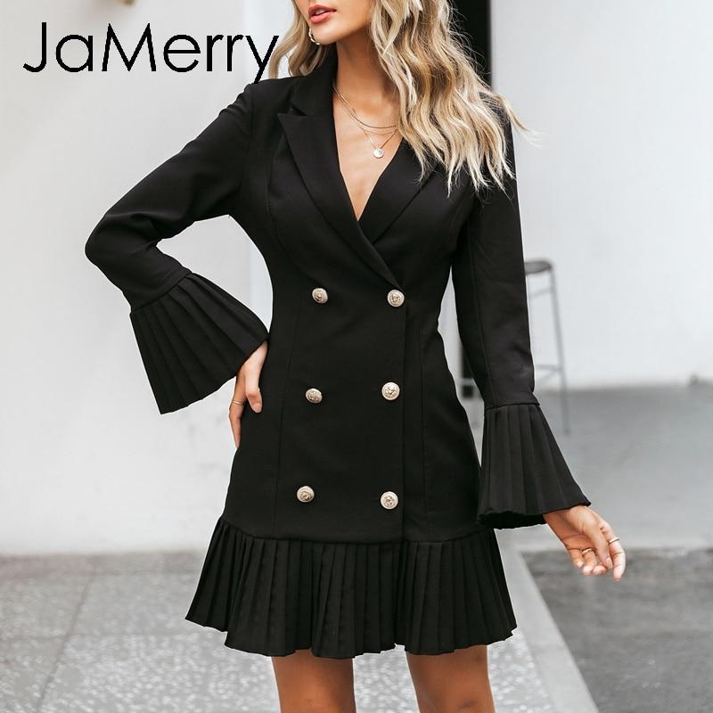Image 3 - JaMerry Vintage ruffled double breasted women dress Office lady  casual blazer black dress Autumn winter slim work wear dressesDresses