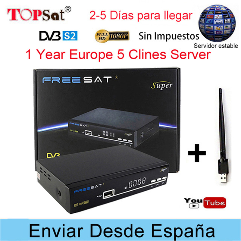 Freesat V8 Super Receptor DVB-S2 HD FTA Satellite TV Receiver + Europe Clines for 1 Year Spain +USB WIFI support powervu decoder цена 2017