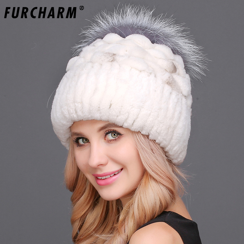 Femme hiver fourrure chapeau pour femmes réel Rex lapin fourrure chapeau avec fourrure de renard Pom Poms haute qualité naturel fourrure tricoté bonnets casquettes