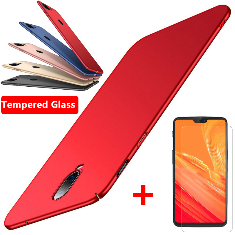 Luxury Ultra <font><b>Slim</b></font> Matte <font><b>Case</b></font> For <font><b>OnePlus</b></font> 7T 7 6 6T Hard PC Plastic Cover For one plus 3 3T 5 <font><b>5T</b></font> 6 6T With Tempered Glass Protect image
