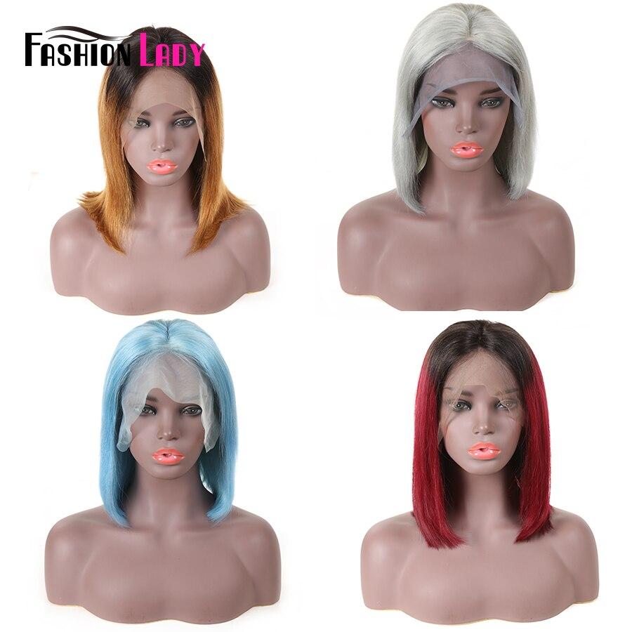 Модные женские бразильские прямые короткие парики remy волосы Боб кружева передние человеческие волосы парики 150% Плотность средняя часть па... - 6