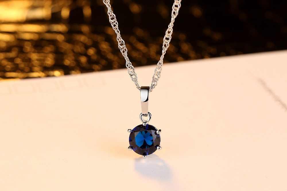 אופנה AAA זירקון עגול קריסטל תליון קולר שרשרת לנשים נקבות ירוק סגול כחול ורוד צבע CZ תכשיטי מתנות