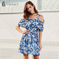 Vintacy Casual Dress Blue Patchwork Sleeveless Backless Floral Print Fashion Beauty Sexy Elegant New Women Dating