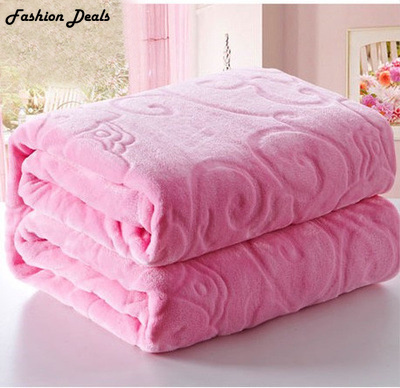 Home Textile Red Color Coral Fleece Blanket Europe Thick Embossed - Home Textile - Photo 2