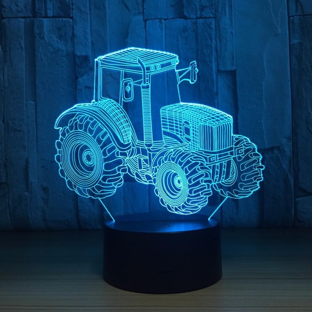New Tractor 3D LED Night Light Multicolor RGB Bedroom Decor Kids Christmas Gift Toys Lamp Drop Ship Amazon