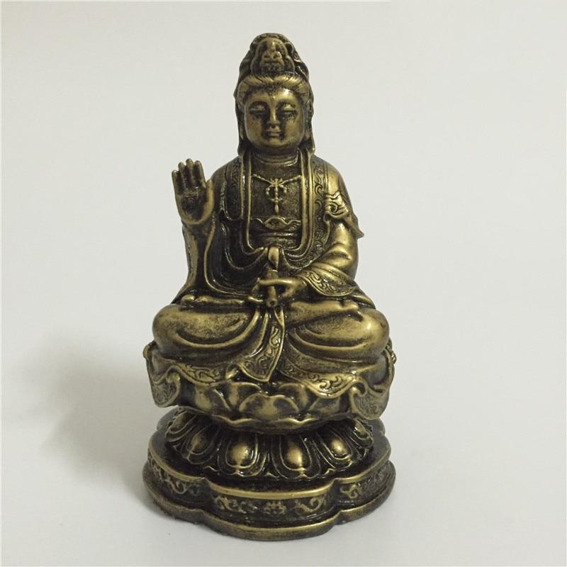 Chinese FengShui Guan Yin Buddha Statue Bronze Color Carving Kwan Yin Bodhisattva Buddha Sculpture  Figurines Home Decoration