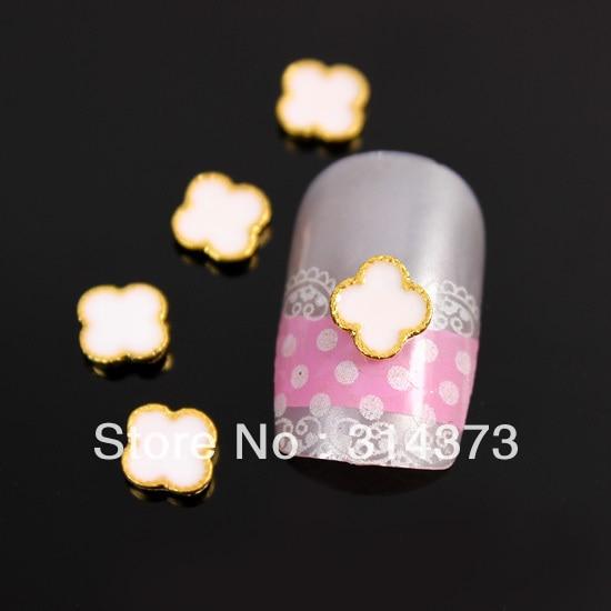 100pcs/lot 6MM Cute Flower White Drip Oil Decoration 3D Alloy Nail Art Acrylic UV Gel Tips Salon Cellphone DIY Design Decoration