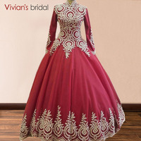 High Neck Long Sleeve Muslim Evening Dress 2018 Hijab Saudi Arabia Evening Dresses Red Gold Lace Ball Evening Gowns Floor Length