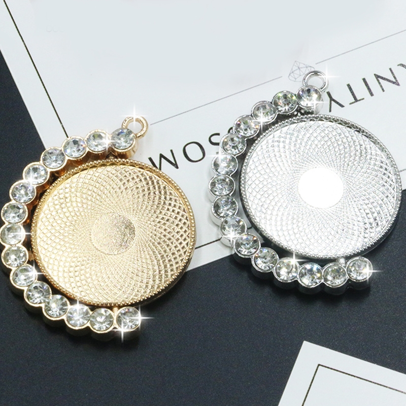 2pcs/lot Alloy Mosaic Zircon Blank Pendant Base Fit Dia 30 Mm Glass Cabochons Cameo Settings Tray DIY Jewelry Making Pendant