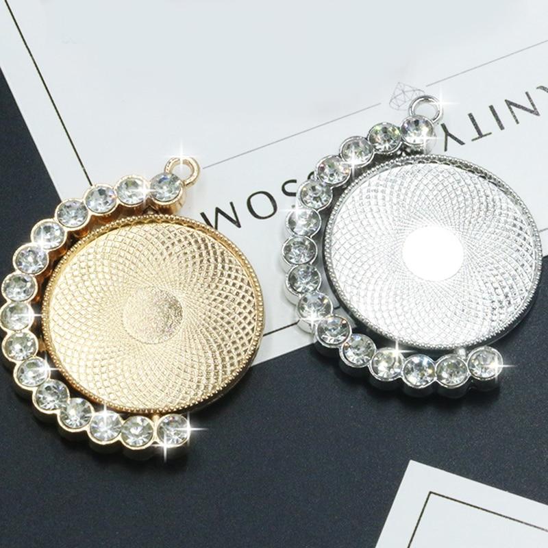 2pcs/lot Alloy Mosaic Zircon Blank Pendant Base Fit Dia 30 Mm Glass Cabochons Cameo Settings Tray DIY Jewelry Making Pendant