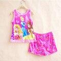 Envío Libre 2015 de los Bebés de Princesa de La Nieve Blanca Princesa Pijamas Pijamas Pijamas de Los Niños Ropa de la Historieta Niños ropa de Dormir