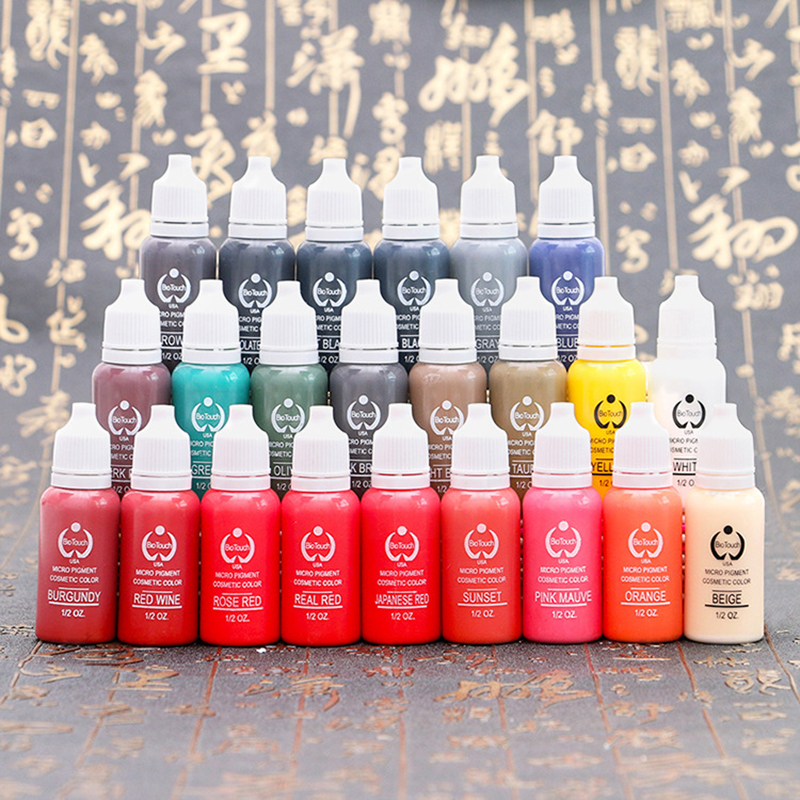23PCS Tattoo Ink Pigment For Permanent Makeup Easy To Wear Micro Pigment Eyebrow Eyeliner Lip Body Tattoo Art Beauty Tools free shipping 3 pp eyeliner liquid empty pipe pointed thin liquid eyeliner colour makeup tools lfrosted purple
