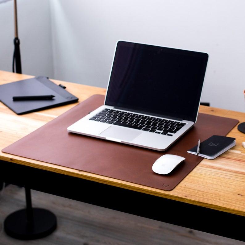 Tapis de bureau artisanal en cuir marron beige tapis de souris accessoires de bureau fixes tapis de bureau en cuir accessoires de bureau décor