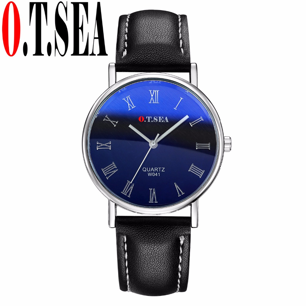 Luxury O.T.SEA Brand Blue Ray Glass Faux Leather Watch Men Fashion Sports Quartz Wrist Watches Relogio Masculino W041