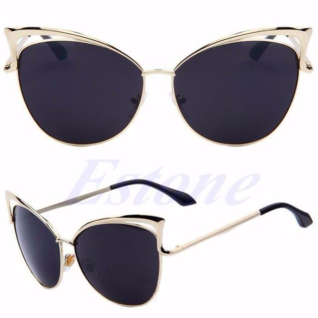 3968dc5fb Women High Quality Retro Cat Eye Female Sunglasses Gold Metal Oculos de sol  Reflective Summer Sun Glasses Vintage Sexy Shades