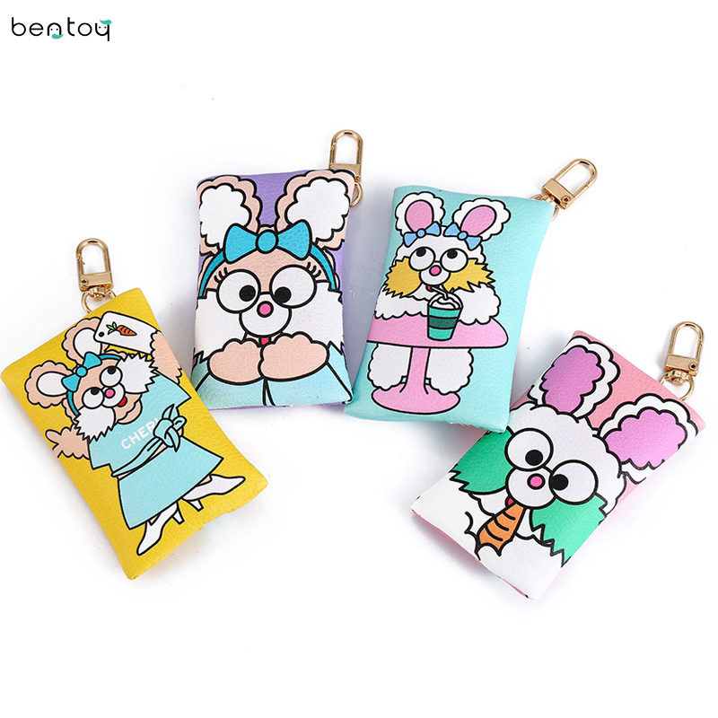 brand rabbit print women wallet and purse keyring leather coin purse for childern small ladies purse zipper earphone pouch rabbit print split top