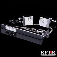 KFLK abotoaduras Boa Alta Qualidade gravata clipe para alfinete de gravata para os homens barras de laço Branco Cristal abotoaduras gravata conjunto clipe Livre grátis