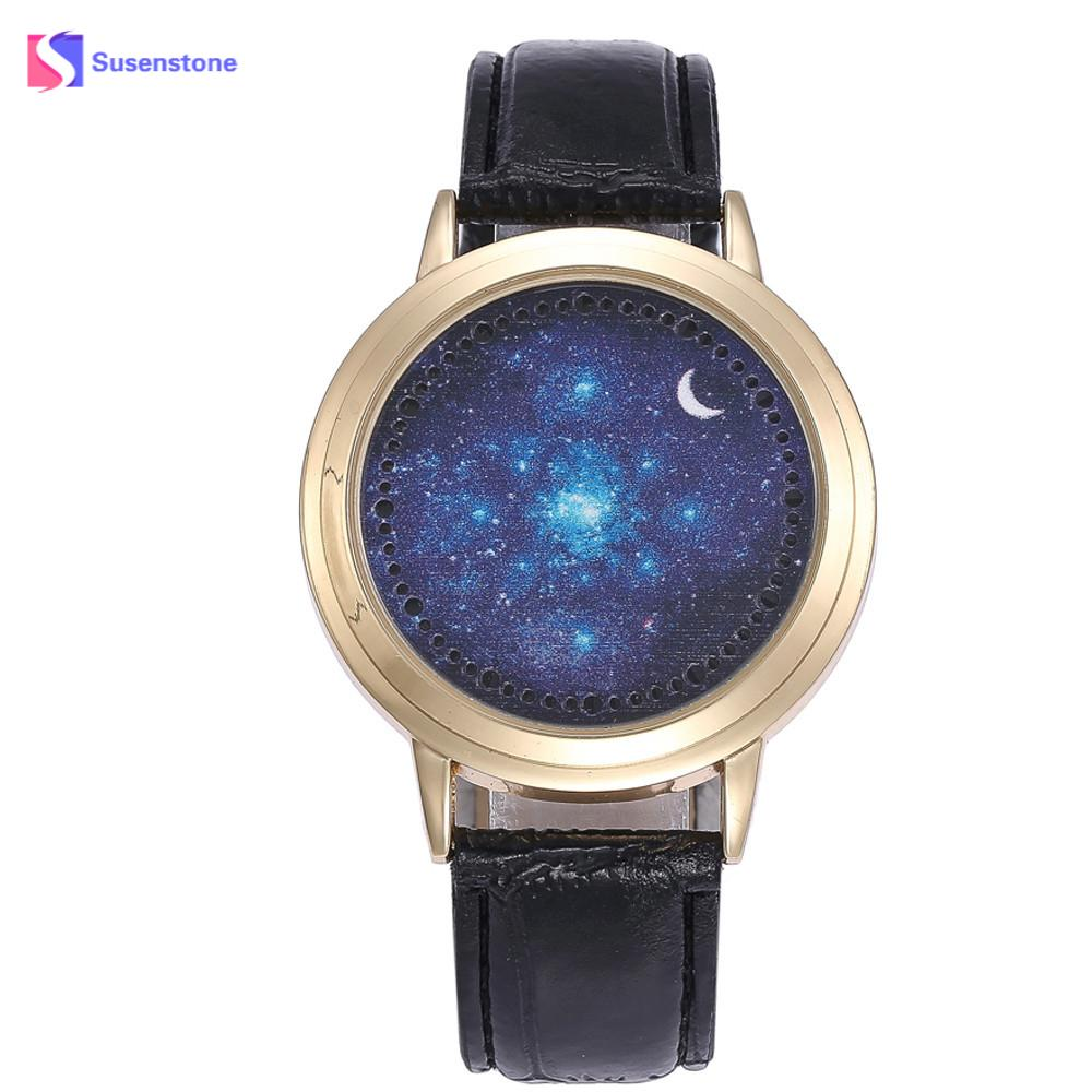 Fashion Brand Men's LED Starry Sky Moon Unisex Leather Band Analog Casual Quartz Vogue Watches Hours Wrist watch Male Clock couple cool watch fashion unisex led fashion leather band analog quartz vogue watches montre femme gift