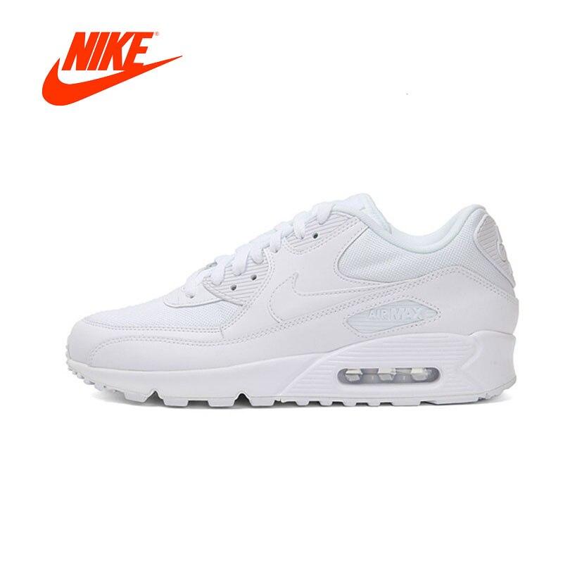 Novedad Original auténtico Nike AIR MAX 90 esencial hombres transpirables zapatillas deportivas al aire libre blanco 537384-111