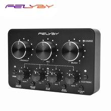 Felyby marcas de alta qualidade multi função placa de som ao vivo para gravação microphopne suporta telefones celulares e computadores