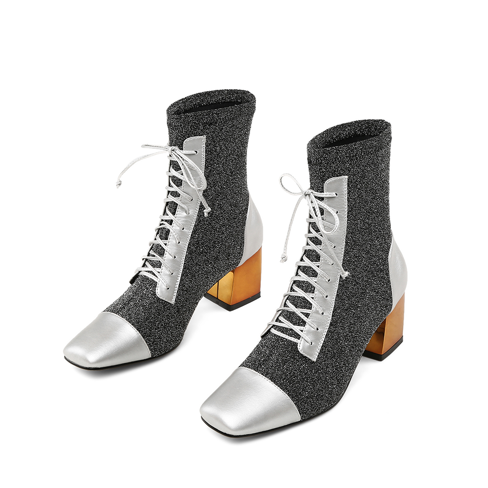 Cuir Femmes Cheville Femme 2019 argent Véritable En Lace Noir Spéciale Talons Offre Carré Karinluna Chaussures Bottes Mode Bling Up zLSVUMGqp