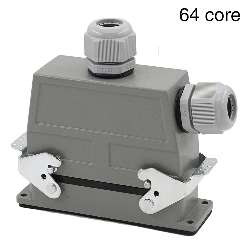 Heavy duty connector 64 core rectangular cold air plug hdc-hd-064 waterproof plug double outlet hole 10A heavy duty connectors rectangular connectors runner connector air plugs hd 040 surface mounted with cover