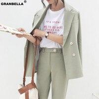 Casual Women Suits Lady Suit Office Double Breasted Female Pant Suits Blazer Jacket & Pencil Pant Casual 2 Pieces set femme