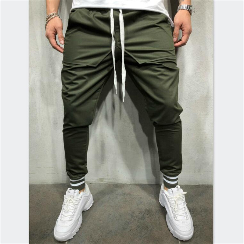 Trousers Men's Personality Europe And America Hip-Hop Style Solid Color Simple Stitching Cotton Elastic Band Casual Beam Pants