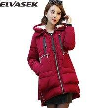 Elvasek дамская широкий талией толстые зимой вниз материнства куртки куртка пальто