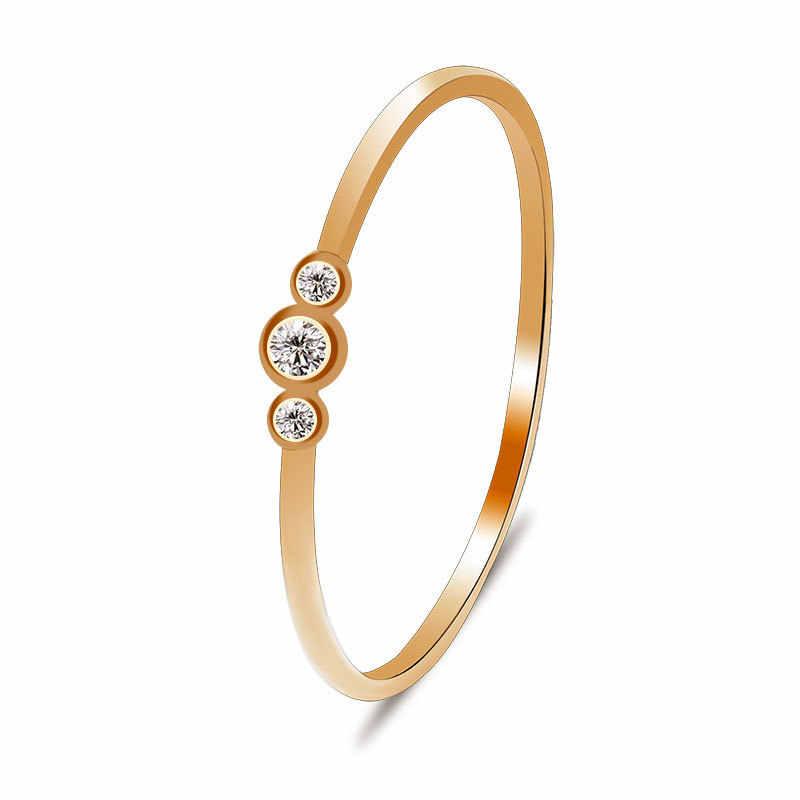 Anéis de cristal para a mulher noivado moda simples rosa anéis de ouro para mulher anel de casamento de prata para senhoras presente do dia dos namorados