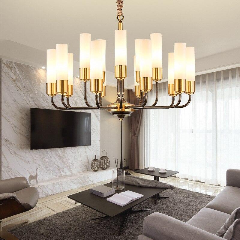 Image 4 - LED luxury Copper chandelier lighting living room pendant lamps American dining room fixtures Nordic bedroom hanging lightsChandeliers   -